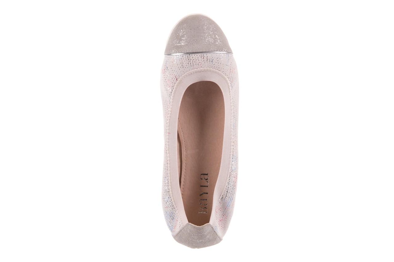 Baleriny bayla-018 1831-5 lt. grey off white silver 018534, biały/szary, skóra naturalna  - skórzane - baleriny - buty damskie - kobieta 10