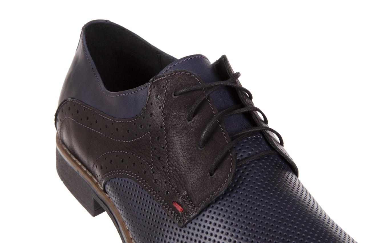 Półbuty bayla-051 166l bufallo niebieski fl. czarny, skóra naturalna  - obuwie wizytowe - buty męskie - mężczyzna 11