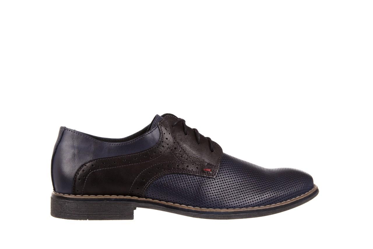 Półbuty bayla-051 166l bufallo niebieski fl. czarny, skóra naturalna  - obuwie wizytowe - buty męskie - mężczyzna 6