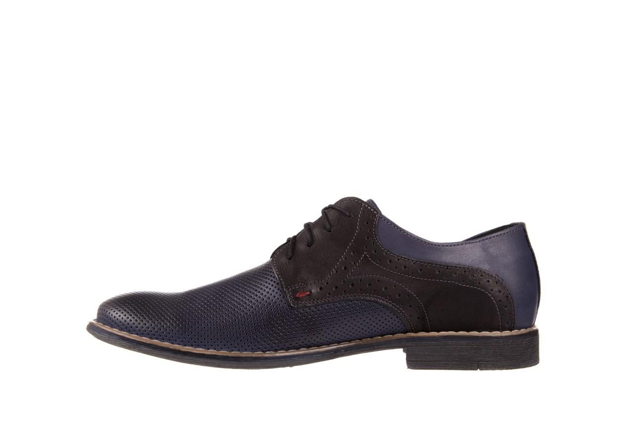 Półbuty bayla-051 166l bufallo niebieski fl. czarny, skóra naturalna  - obuwie wizytowe - buty męskie - mężczyzna 8