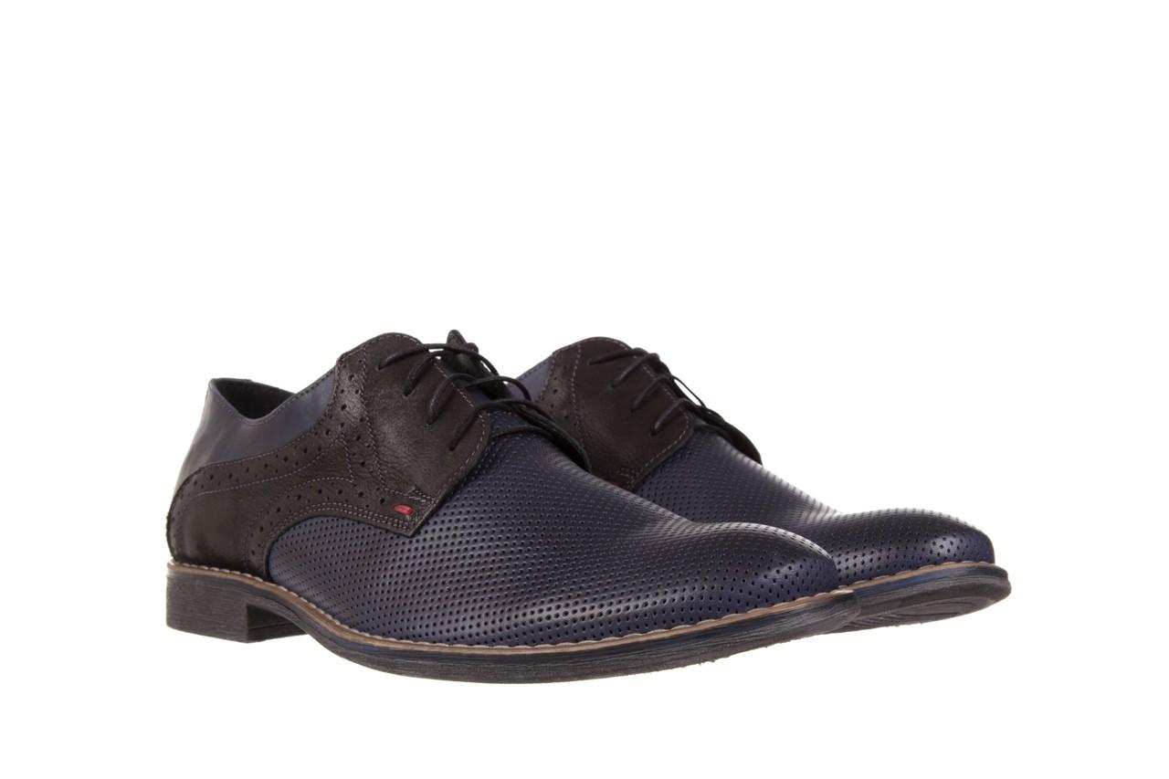 Półbuty bayla-051 166l bufallo niebieski fl. czarny, skóra naturalna  - obuwie wizytowe - buty męskie - mężczyzna 7