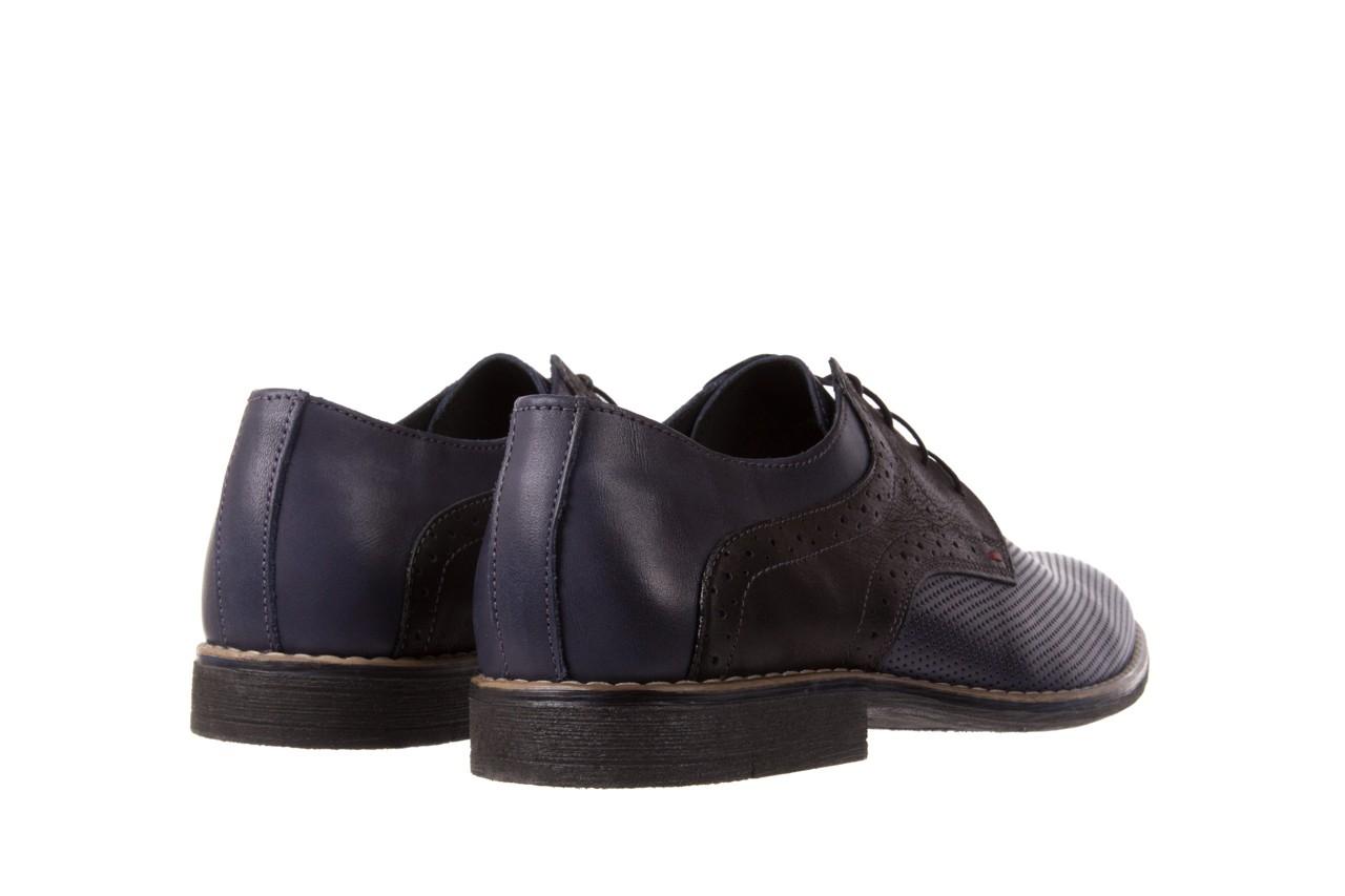 Półbuty bayla-051 166l bufallo niebieski fl. czarny, skóra naturalna  - obuwie wizytowe - buty męskie - mężczyzna 9