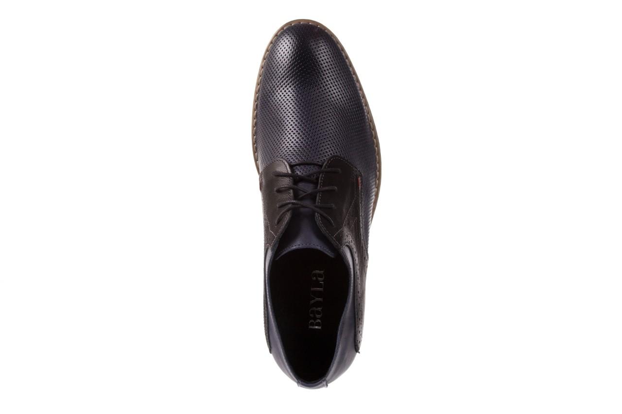 Półbuty bayla-051 166l bufallo niebieski fl. czarny, skóra naturalna  - obuwie wizytowe - buty męskie - mężczyzna 10