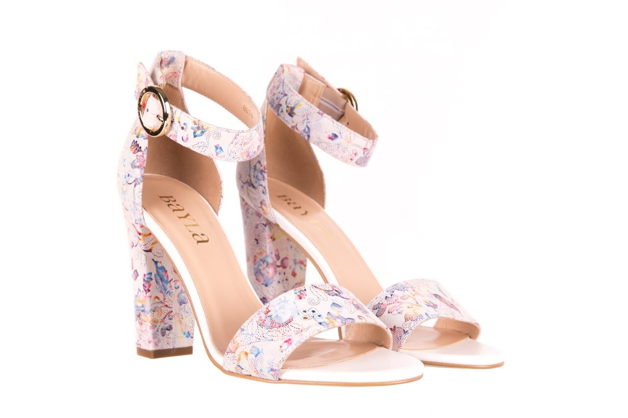 Sandały bayla-056 8024-1292 białe sandały w kwiaty, skóra naturalna  - bayla - nasze marki 6