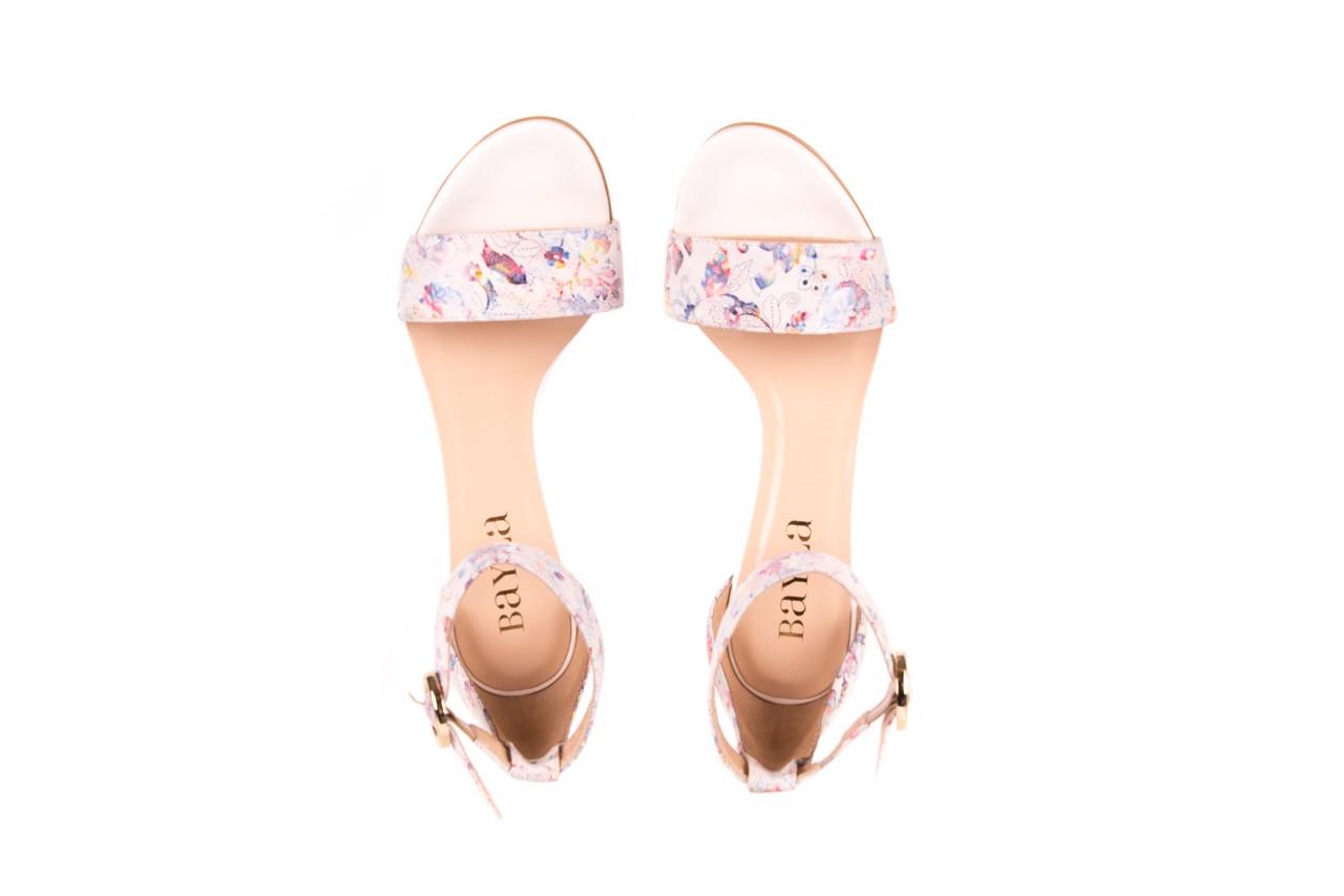 Sandały bayla-056 8024-1292 białe sandały w kwiaty, skóra naturalna  - bayla - nasze marki 8