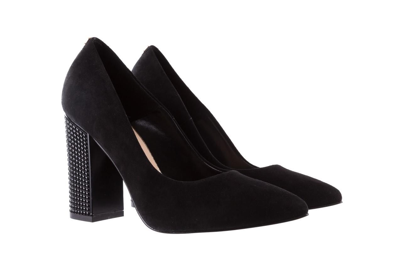 Czółenka bayla-056 8051-21 czarne czółenka z bieżnikowym obcasem, skóra naturalna  - na słupku - czółenka - buty damskie - kobieta 8
