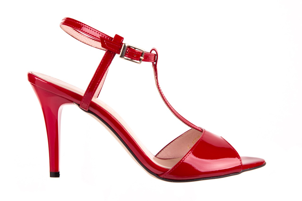 Sandały bayla-097 07 czerwone sandały, skóra naturalna 5