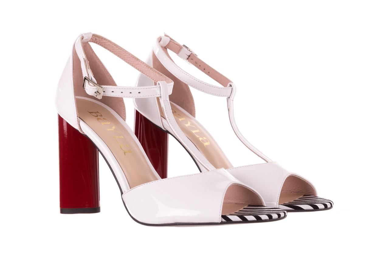 Sandały bayla-097 08 biało-czerwone sandały, skóra naturalna lakierowana  - kolekcja ślubna - trendy - kobieta 8