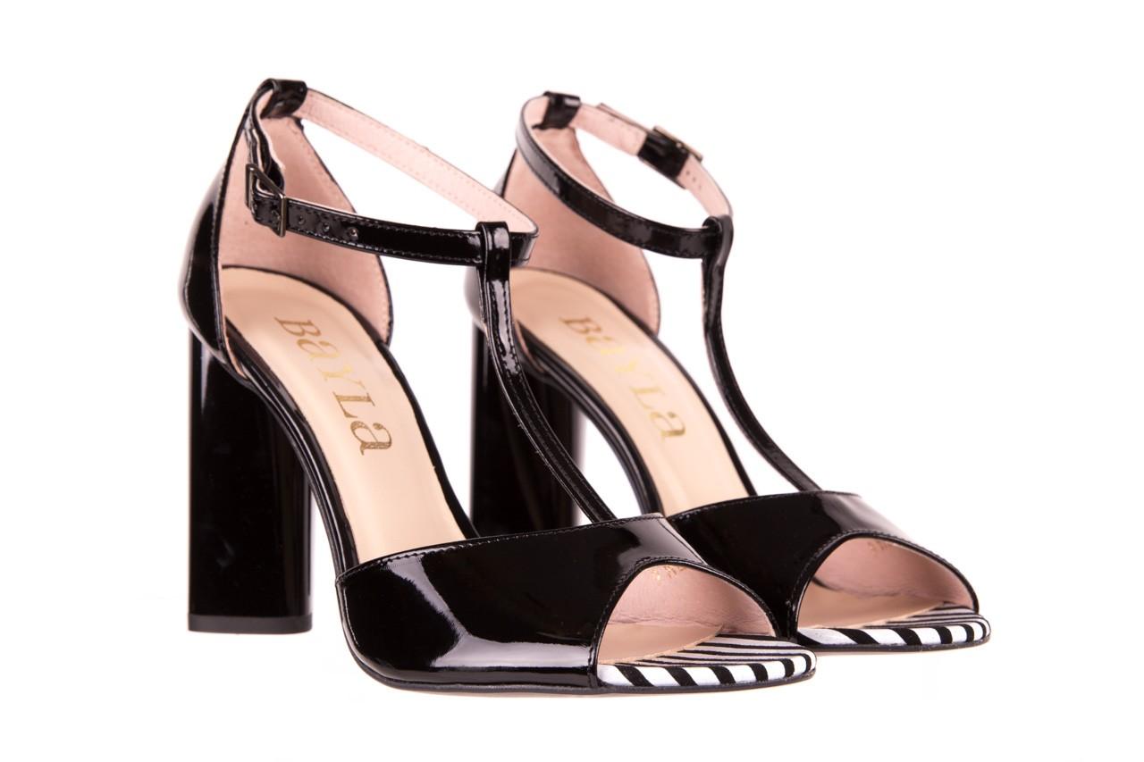 Sandały bayla-097 08 czarno - białe sandały, skóra naturalna lakierowana  - bayla - nasze marki 7