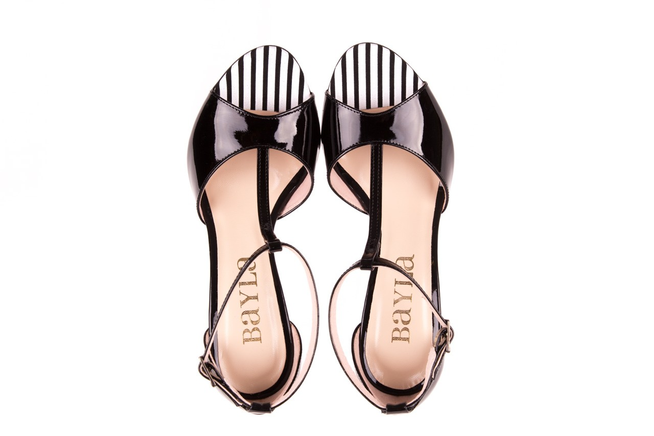 Sandały bayla-097 08 czarno - białe sandały, skóra naturalna lakierowana  - bayla - nasze marki 10