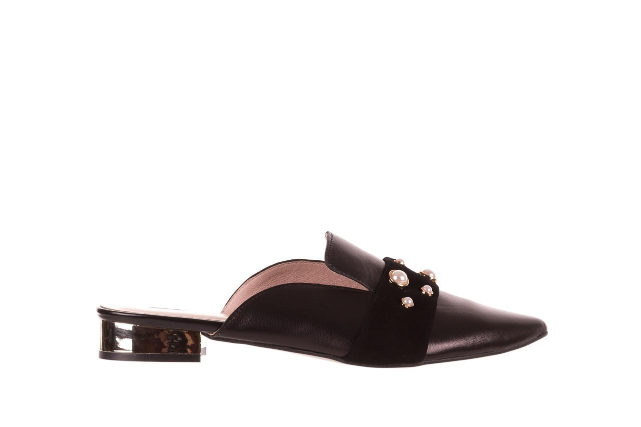 Klapki bayla-097 10 czarne klapki z perłami, skóra naturalna  - mokasyny i lordsy - półbuty - buty damskie - kobieta 7