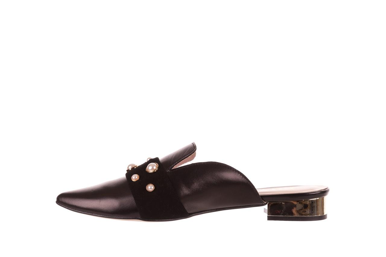 Klapki bayla-097 10 czarne klapki z perłami, skóra naturalna  - mokasyny i lordsy - półbuty - buty damskie - kobieta 9