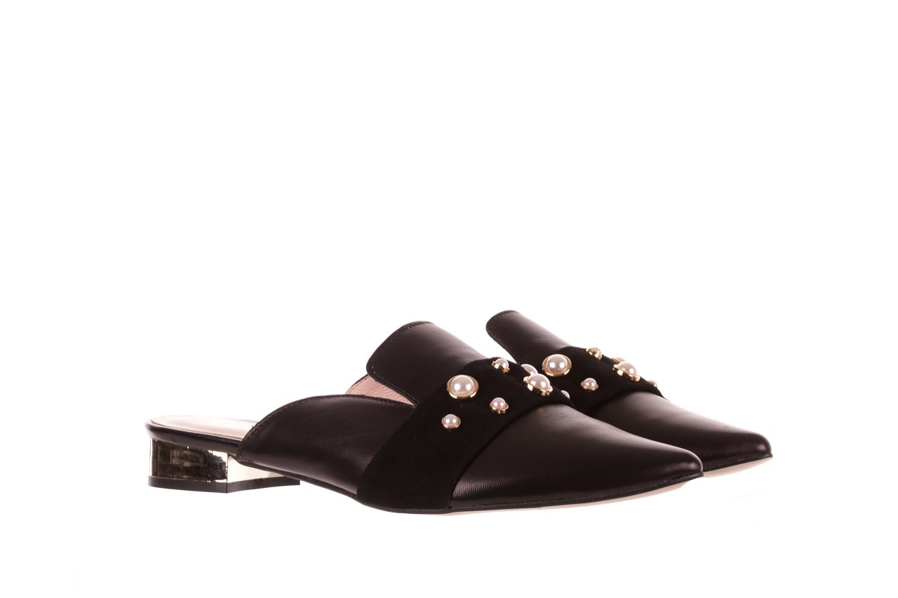 Klapki bayla-097 10 czarne klapki z perłami, skóra naturalna  - bayla - nasze marki 8