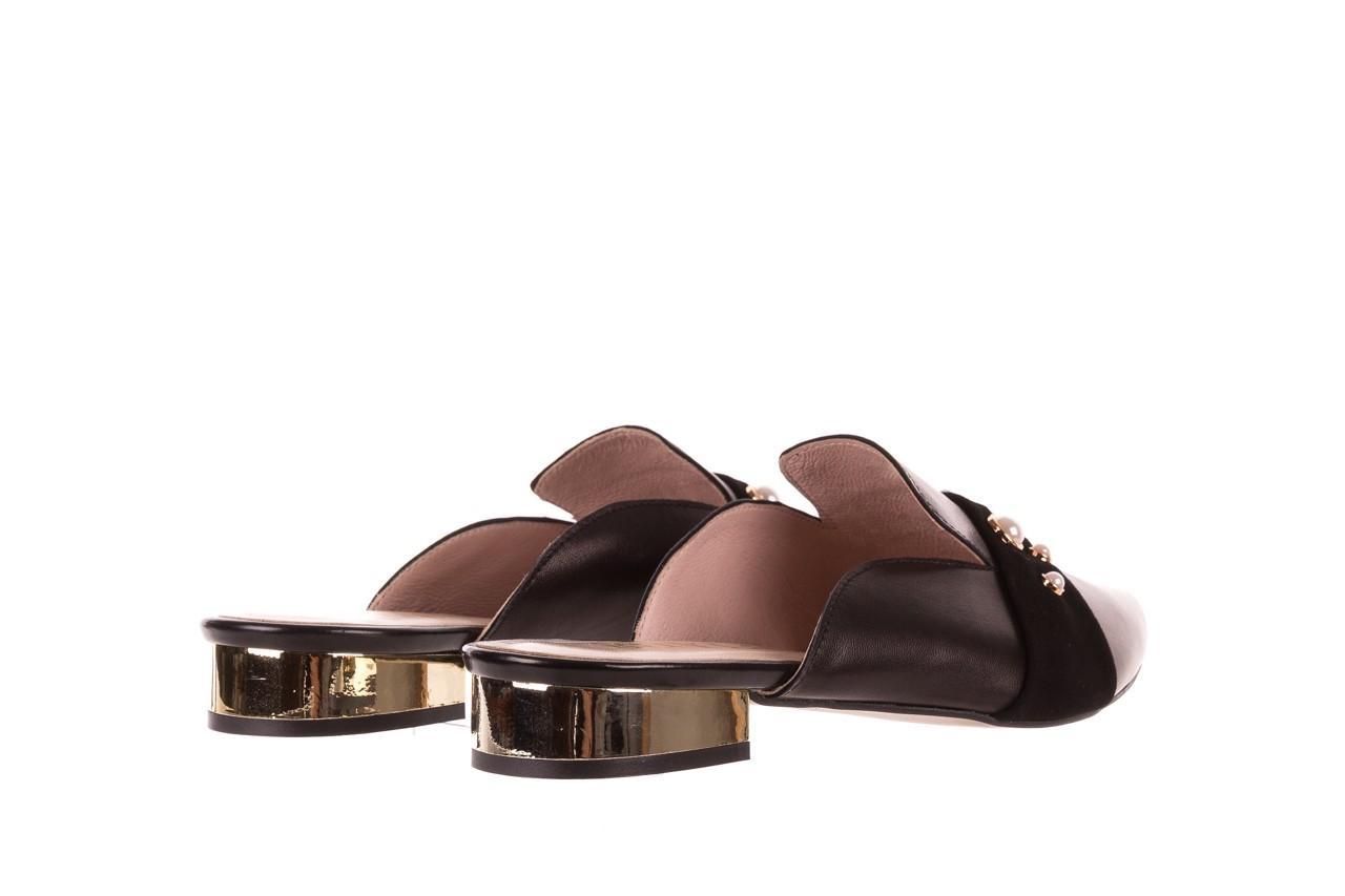 Klapki bayla-097 10 czarne klapki z perłami, skóra naturalna  - mokasyny i lordsy - półbuty - buty damskie - kobieta 10