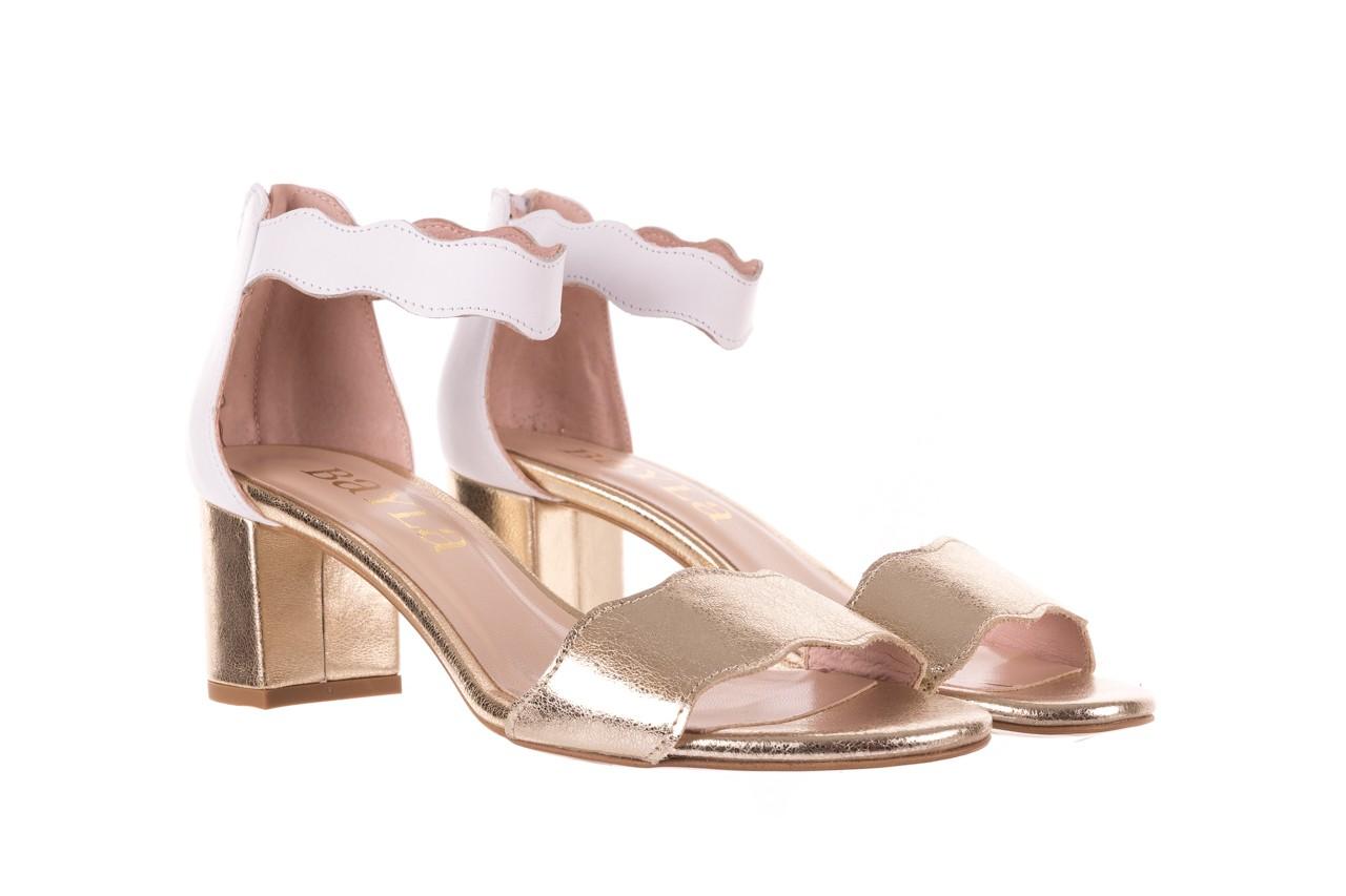 Sandały bayla-097 12 biało-złote sandały, skora naturalna  - kolekcja ślubna - trendy - kobieta 8