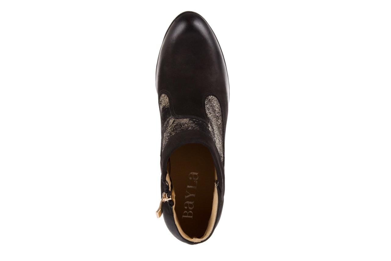 Botki bayla-100 413s czarny złoty, skóra naturalna - na platformie - botki - buty damskie - kobieta 10