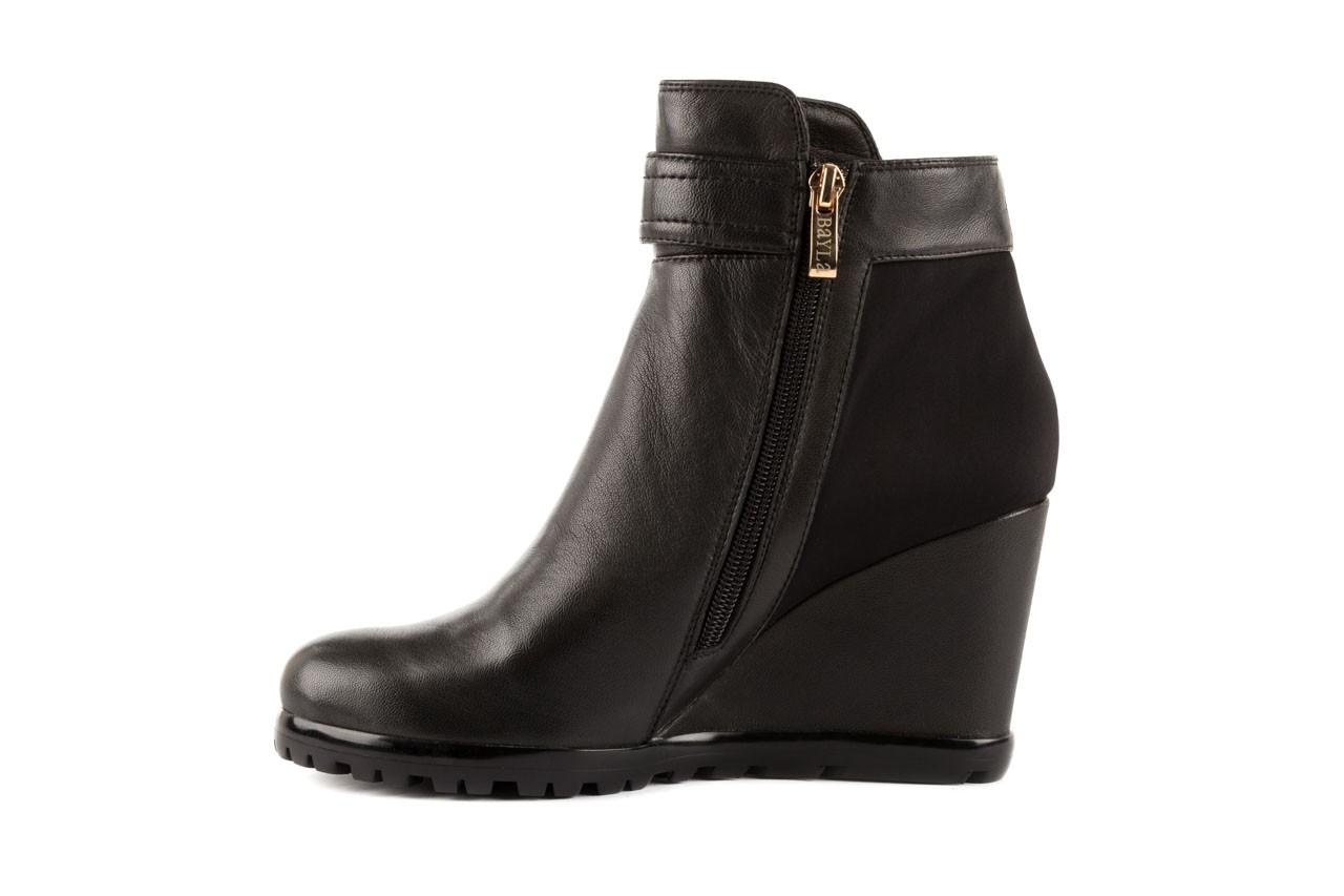 Botki bayla-106 321108 black, czarny, skóra naturalna/materiał - na koturnie - botki - buty damskie - kobieta 7