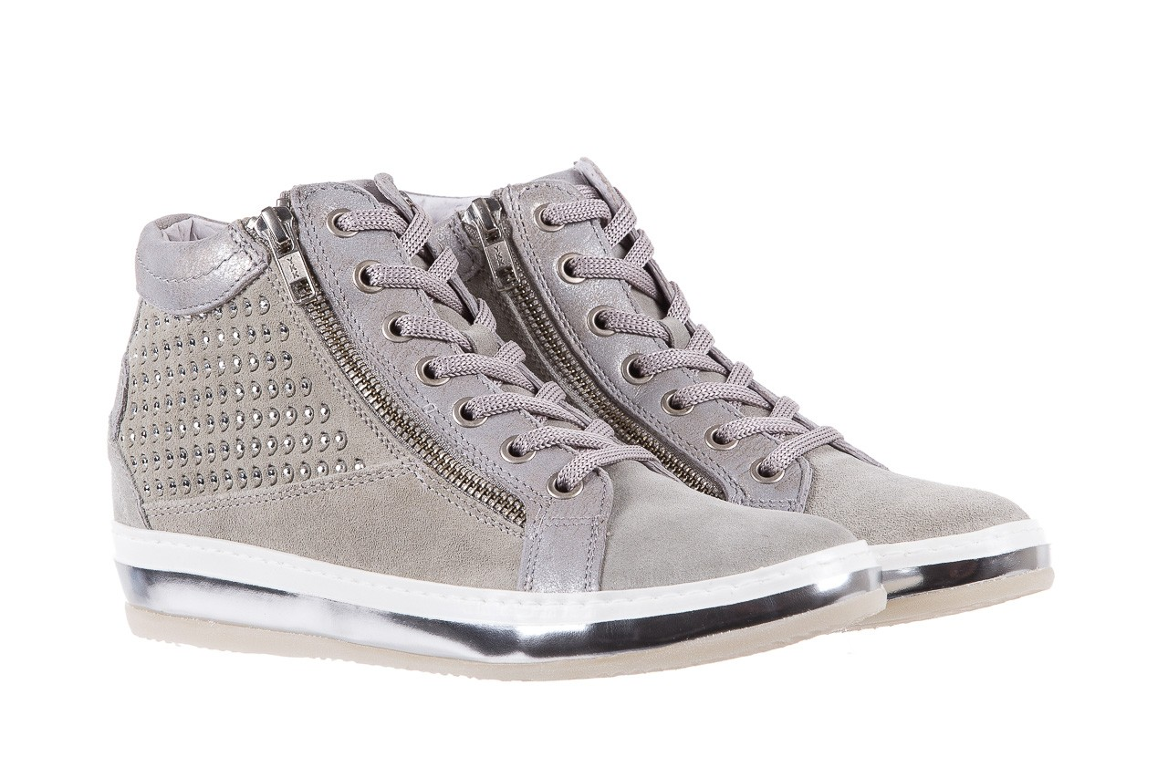 Sneakersy bayla-131 1217 perla, szary, skóra naturalna  - hity cenowe 8