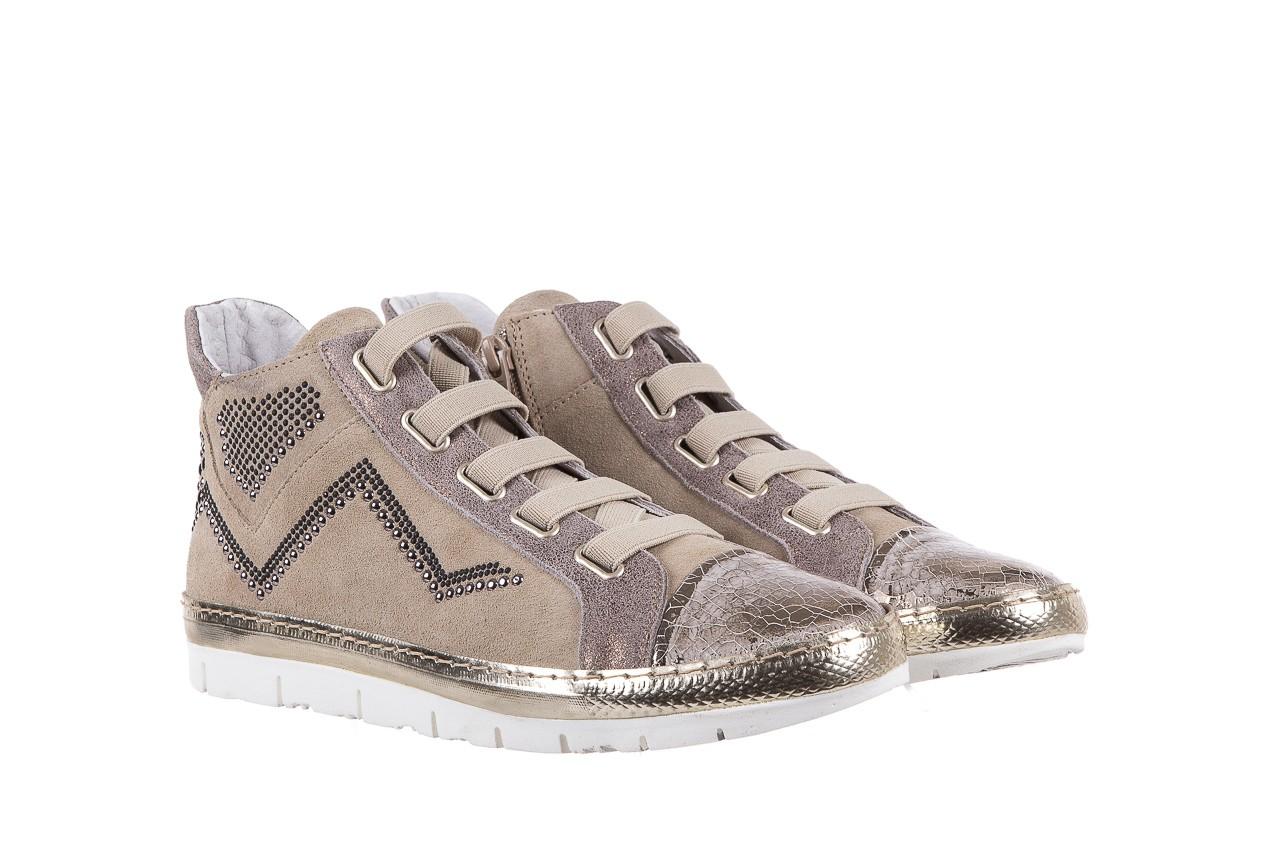 Trampki bayla-131 1304 sand, róż/złoty, skóra naturalna  - skórzane - trampki - buty damskie - kobieta 8