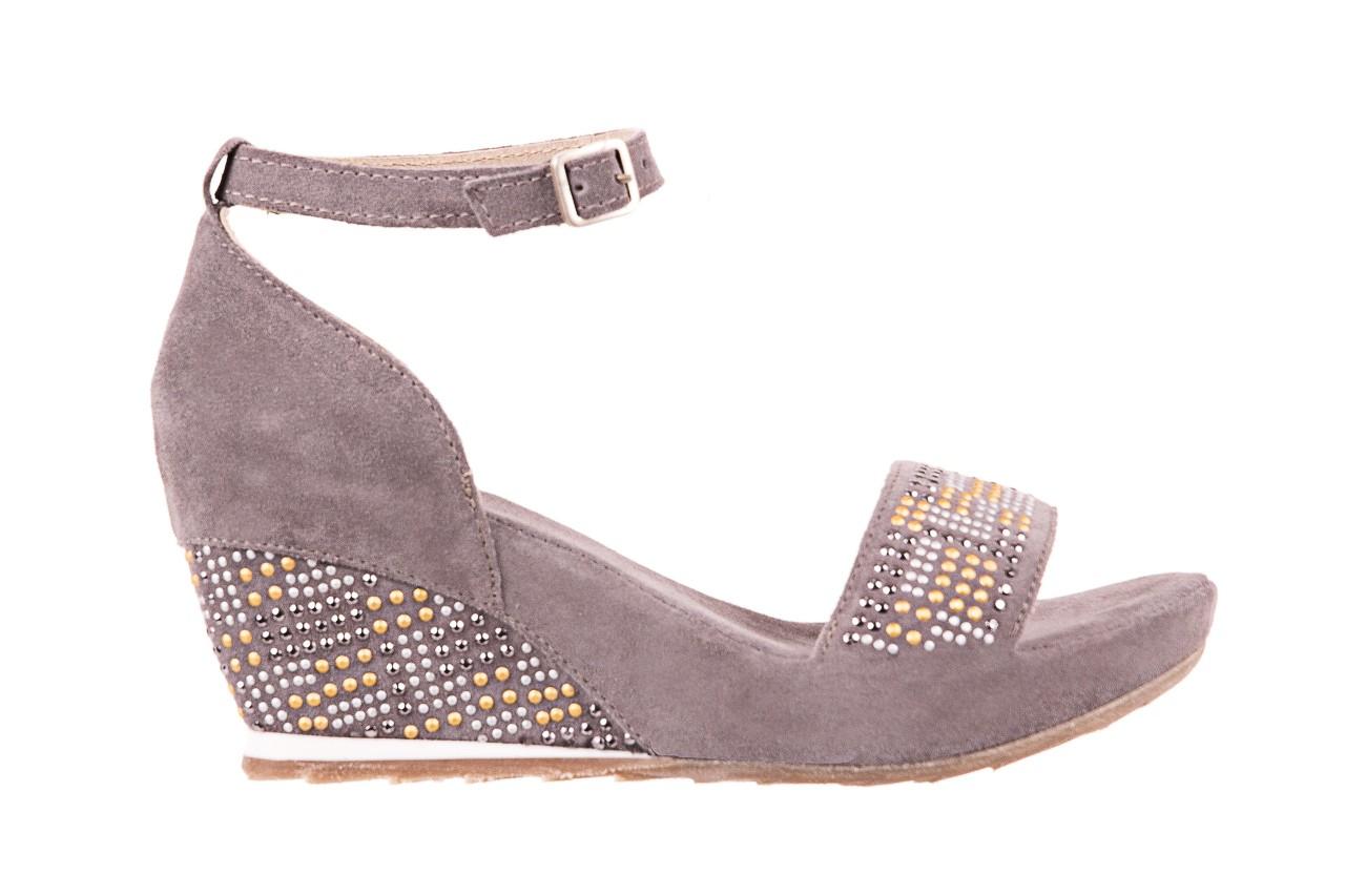 Sandały bayla-131 2701 grigio, szary, skóra naturalna  - koturny - dla niej  - sale 6