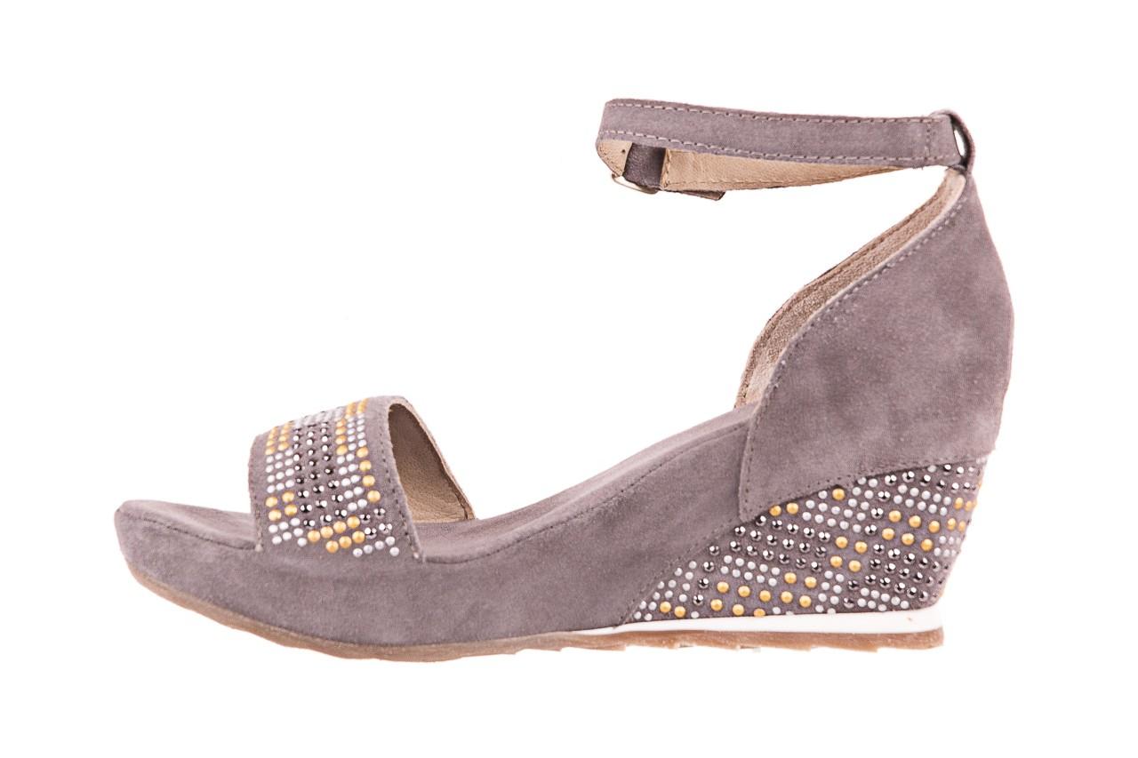 Sandały bayla-131 2701 grigio, szary, skóra naturalna  - koturny - dla niej  - sale 8