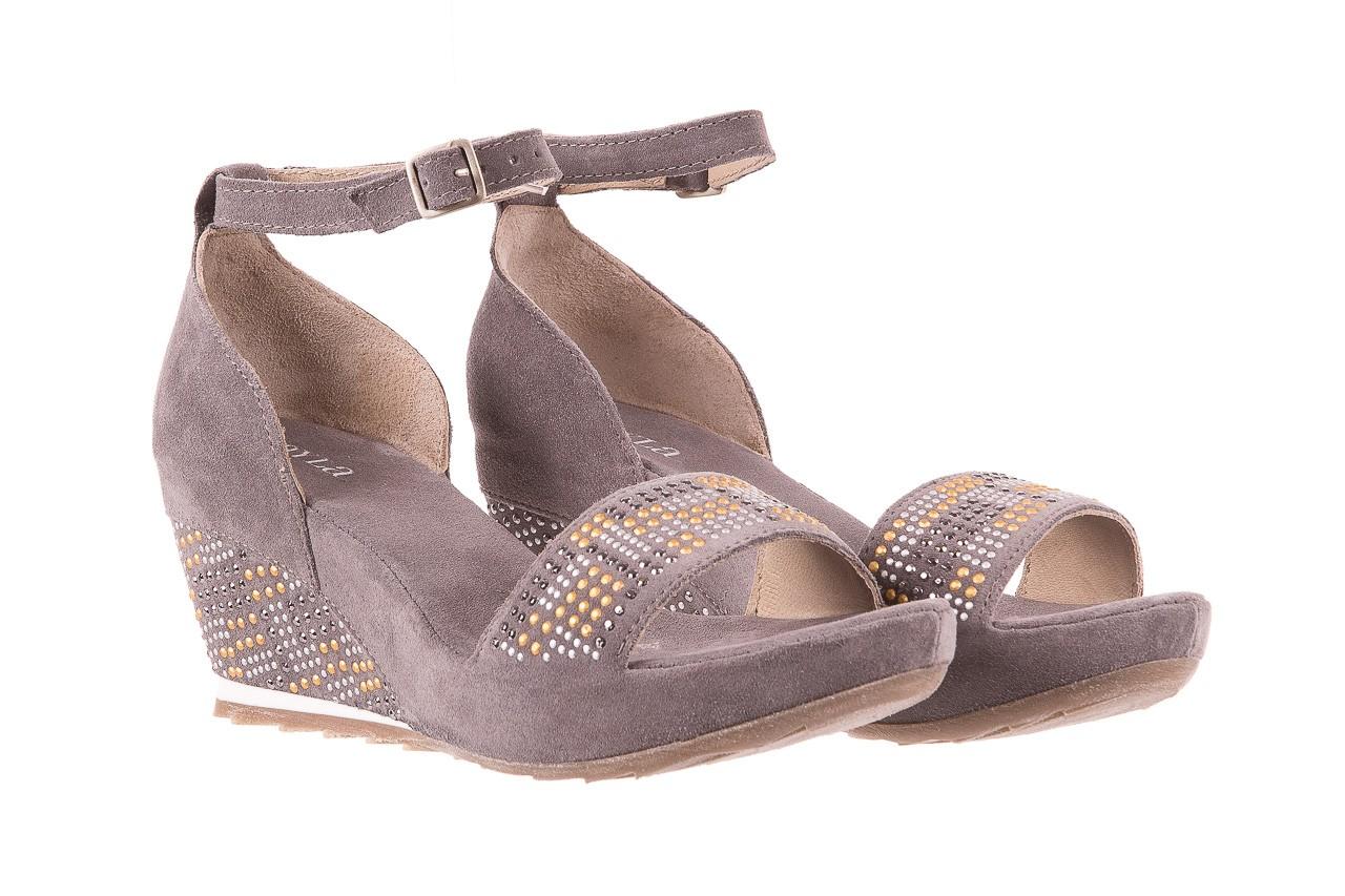 Sandały bayla-131 2701 grigio, szary, skóra naturalna  - koturny - dla niej  - sale 7