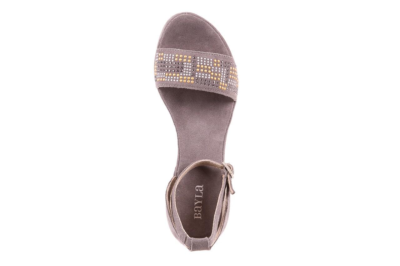 Sandały bayla-131 2701 grigio, szary, skóra naturalna  - koturny - dla niej  - sale 10