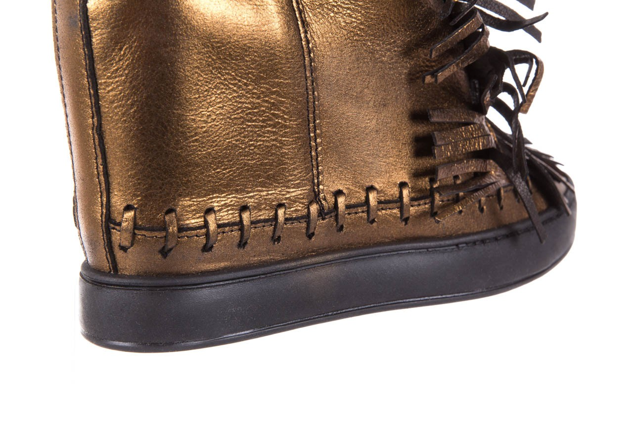 Botki bayla-136 g655 skóra złota, skóra naturalna  - na platformie - botki - buty damskie - kobieta 14