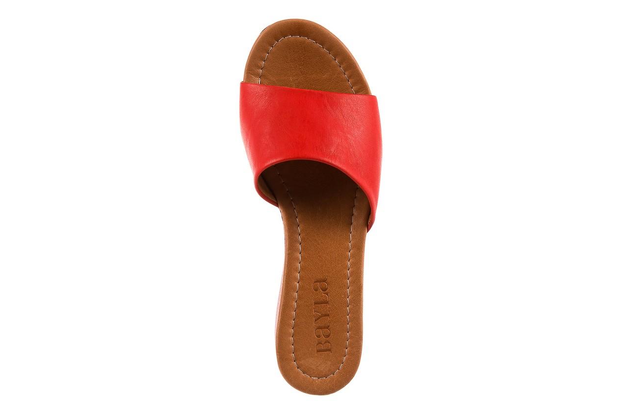 Klapki bayla-161 001-10 red, czerwony, skóra naturalna  - bayla - nasze marki 10