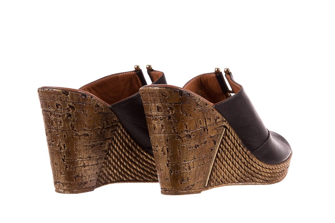 Klapki bayla-161 020-75 black, czarny, skóra naturalna - na koturnie - klapki - buty damskie - kobieta 10