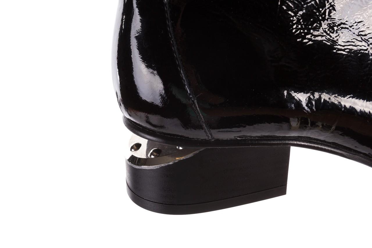 Botki bayla-177 b19118 czarne botki, skóra naturalna lakierowana - kobieta 14
