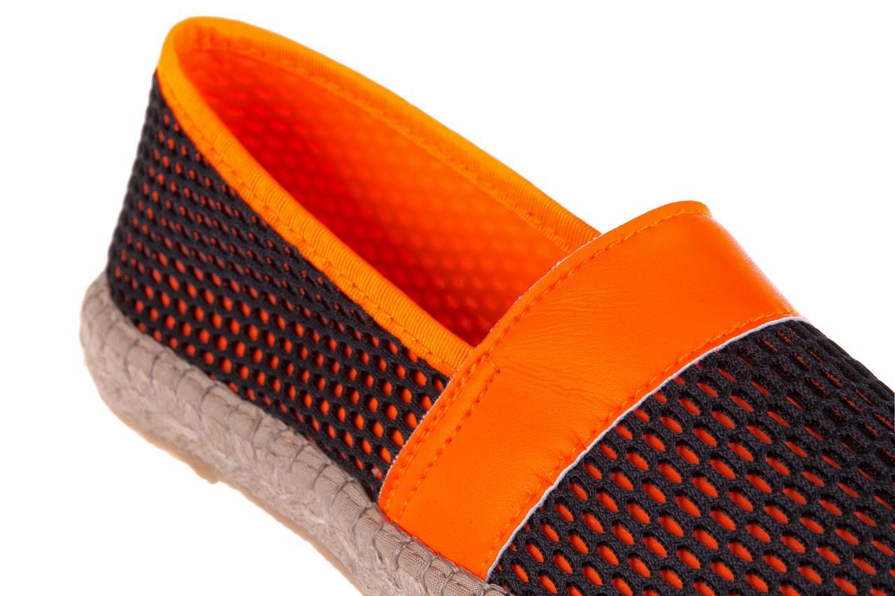 Espadryle bayla-115 104130 naranja, czarny/ pomarańczowy, materiał  - espadryle - dla niej  - sale 12