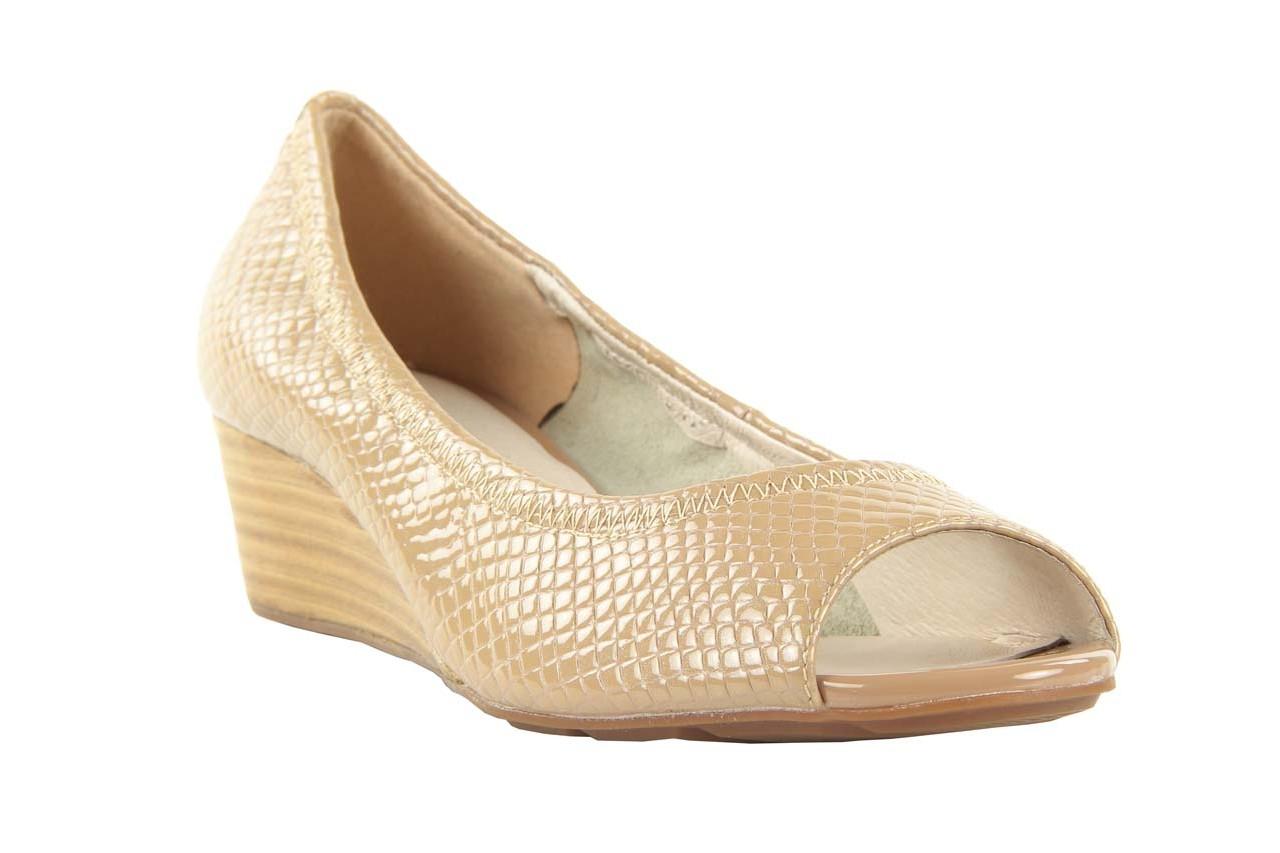 Czółenka bayla 1252-11d powder, beż, skóra naturalna lakierowana - na koturnie - czółenka - buty damskie - kobieta 7