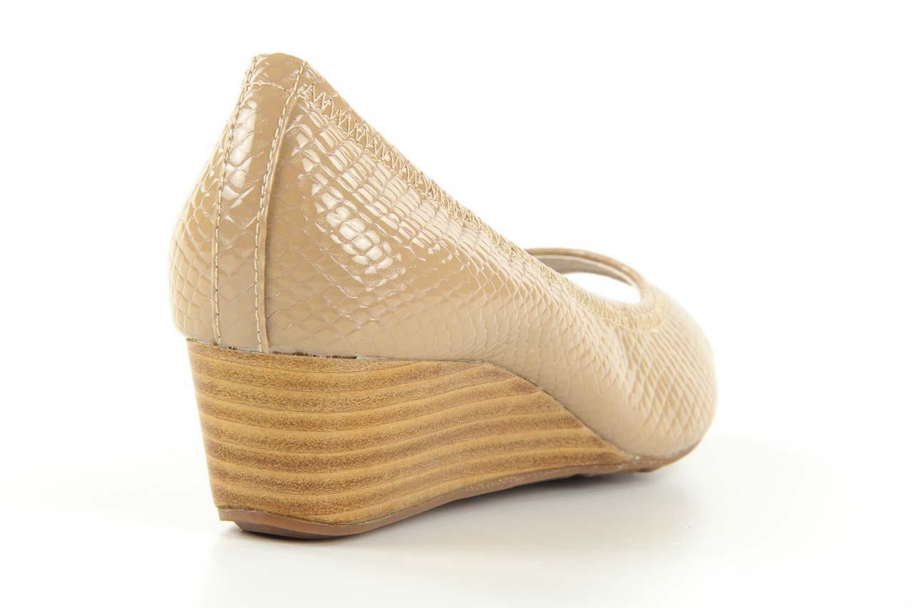Czółenka bayla 1252-11d powder, beż, skóra naturalna lakierowana - na koturnie - czółenka - buty damskie - kobieta 8