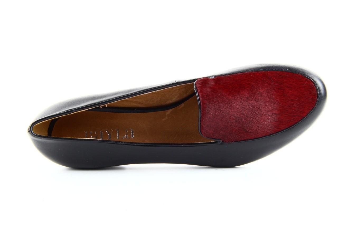 Lordsy bayla 1358-11 black burgundy black, czarny/ bordo, skóra naturalna  - bayla - nasze marki 6