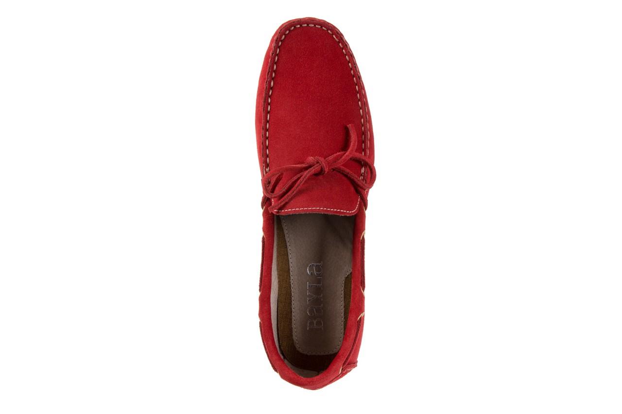 Mokasyny bayla-133 6102 camoscio rosso, czerwony, skóra naturalna  - mokasyny i espadryle - buty męskie - mężczyzna 10