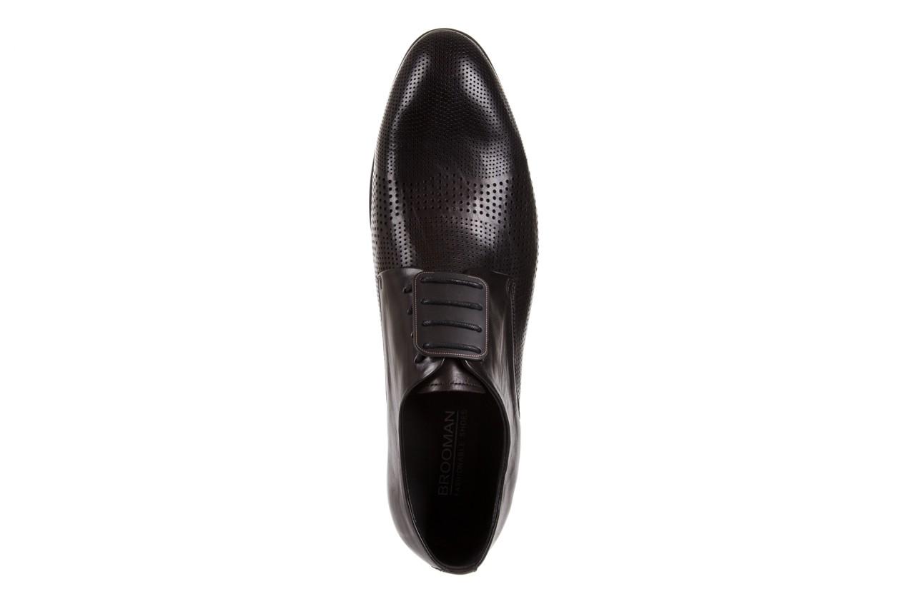 Półbuty brooman da8111-101-1 black, czarny, skóra naturalna  - rozmiar 45 - mężczyzna - mega okazje - ostatnie rozmiary 10