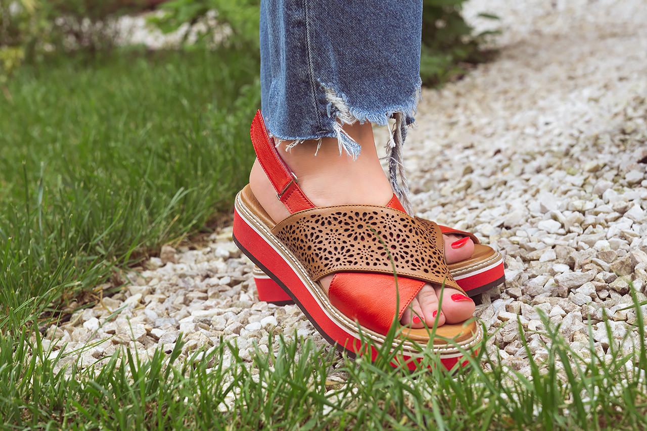 Sandały bayla-161 105 2014 coconut red 161212, czerwony/ brąz, skóra naturalna  - skórzane - sandały - buty damskie - kobieta 17