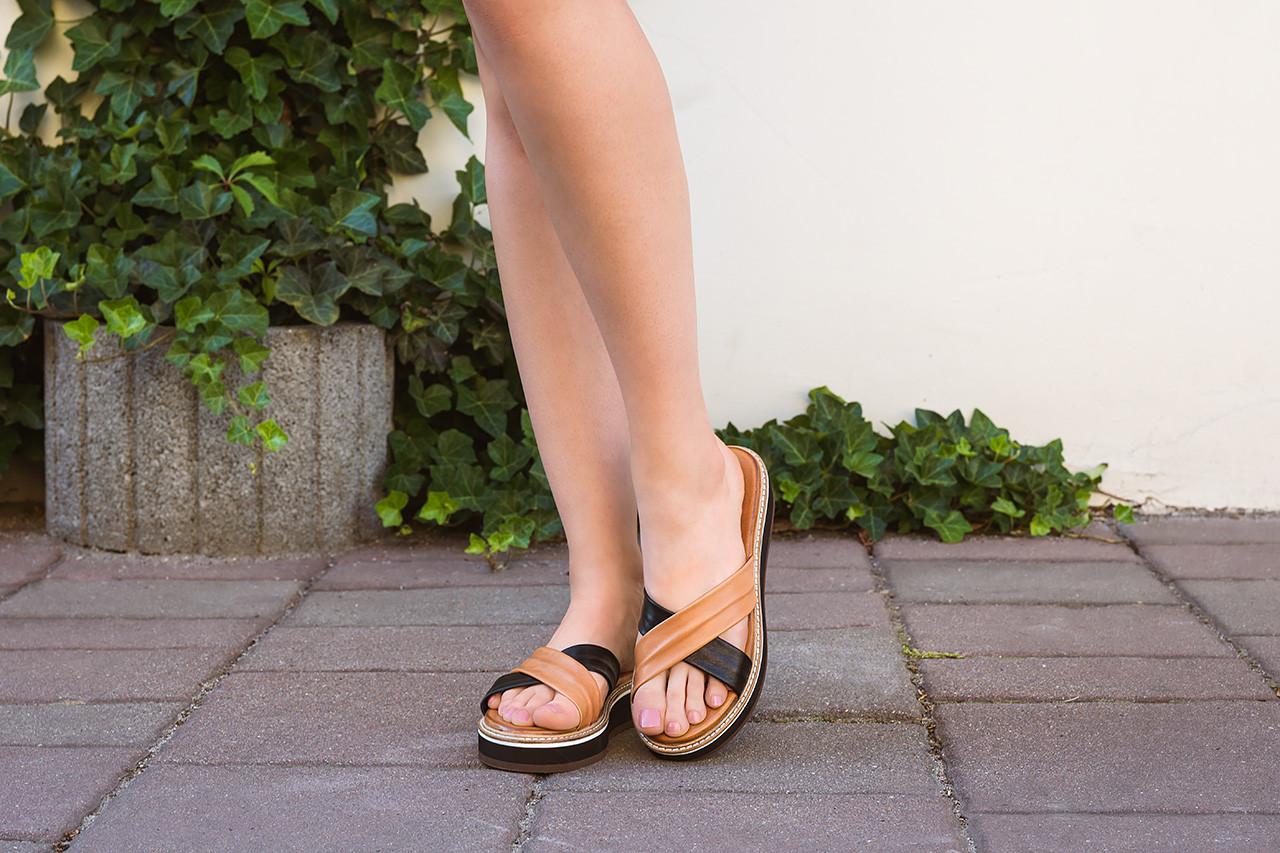 Klapki bayla-161 105 6004 black tan 161214, czarny/ brąz, skóra naturalna  - dla niej  - sale 17