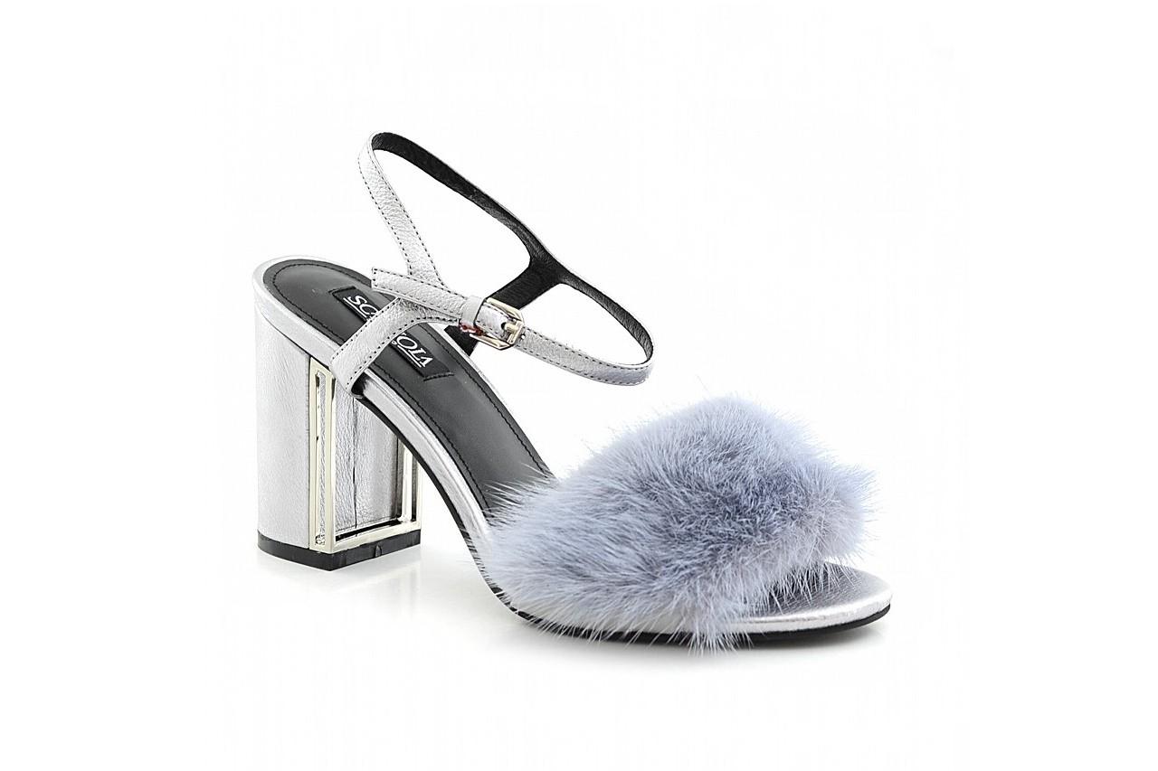 Sandały sca'viola e-15 grey, srebro, skóra/ futro naturalne - sca`viola - nasze marki 2
