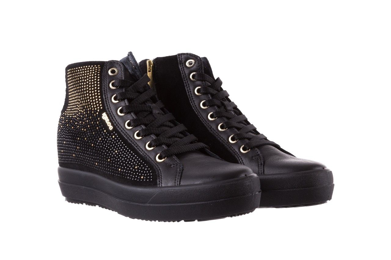 Sneakersy igi&co 8773800 nero, czarny, skóra naturalna 8