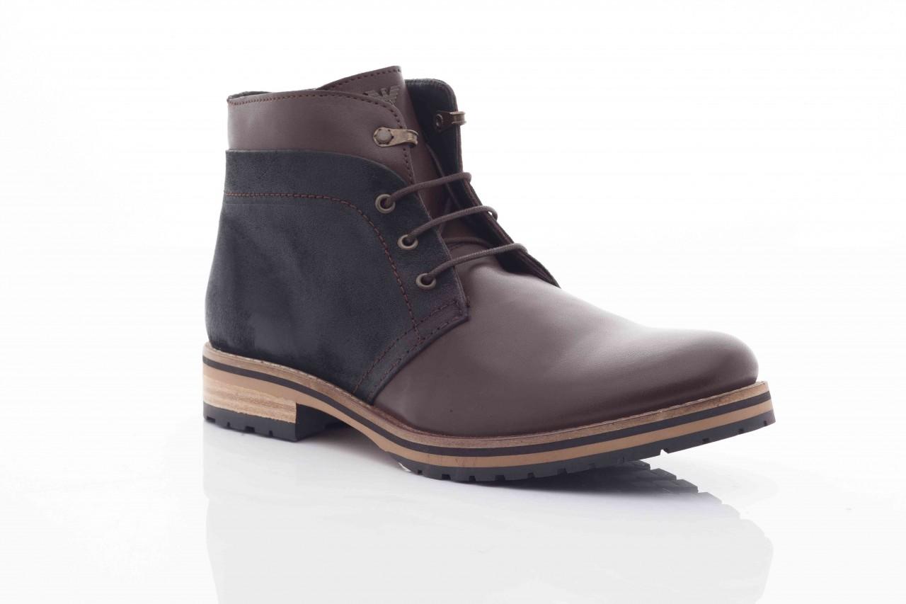 Trzewiki armani jeans u6593 brown-black, brąz/ czarny, skóra naturalna  - wizytowe - trzewiki - buty męskie - mężczyzna 5
