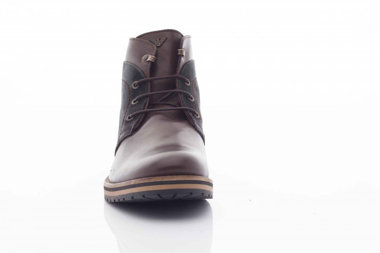 Trzewiki armani jeans u6593 brown-black, brąz/ czarny, skóra naturalna  - wizytowe - trzewiki - buty męskie - mężczyzna 6