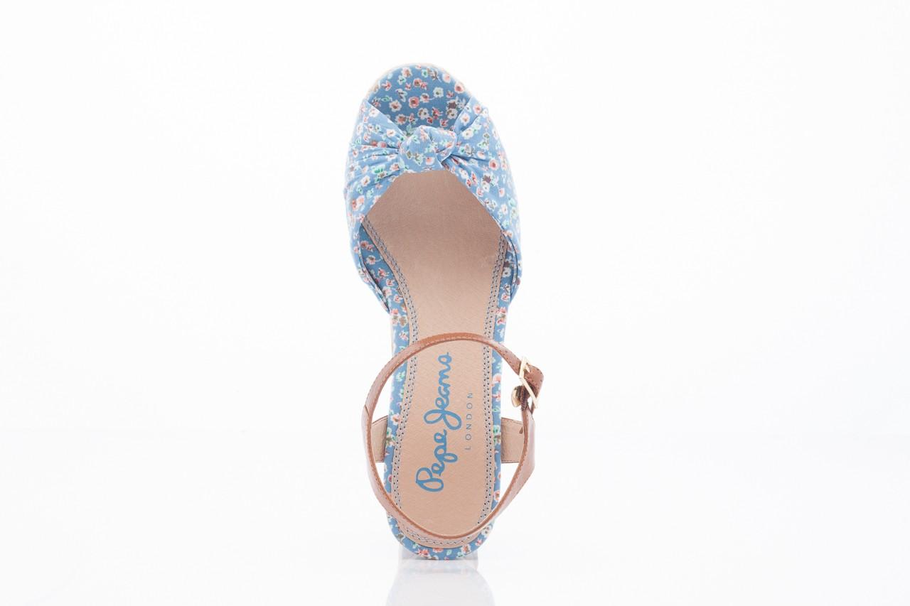 Sandały pepe jeans pfs90202 561 indigo, niebieskie, materiał  - na platformie - sandały - buty damskie - kobieta 5