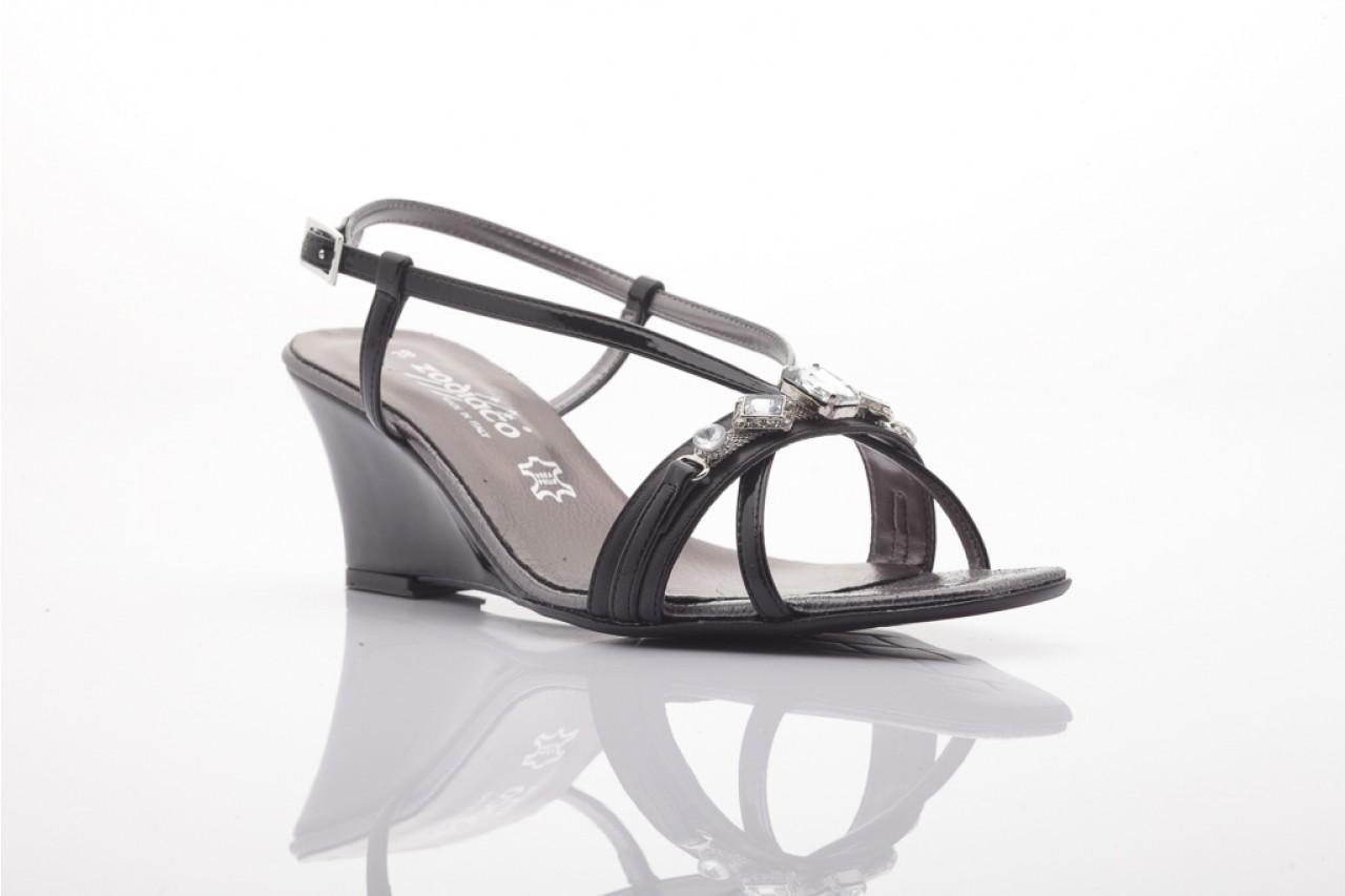 Sandały zodiaco a330s black pat, czarny, skóra naturalna lakierowana 5