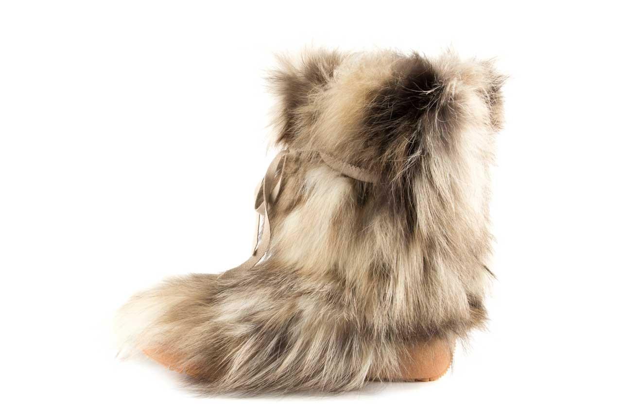 Śniegowce oscar baffy-short iceburg, beż, futro naturalne 7