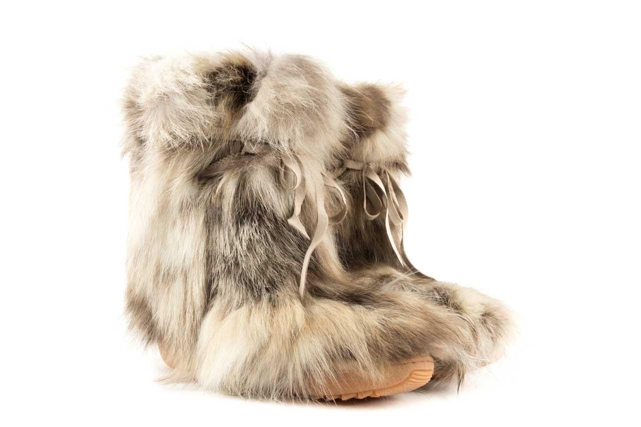 Śniegowce oscar baffy-short iceburg, beż, futro naturalne 6