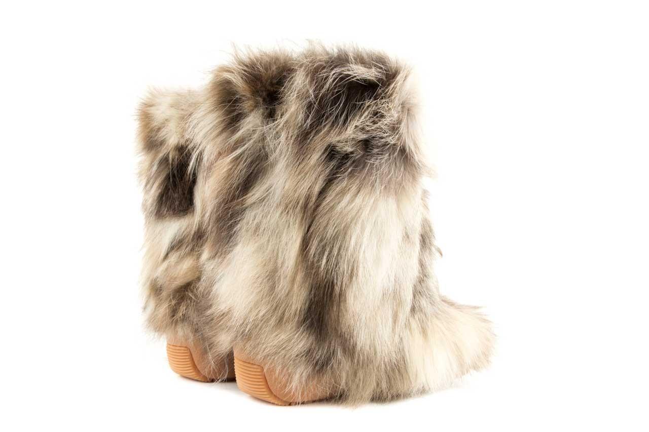 Śniegowce oscar baffy-short iceburg, beż, futro naturalne 8