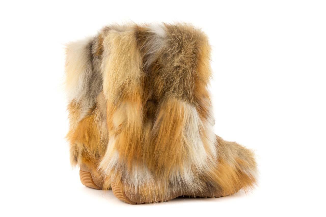 Śniegowce oscar baffy-short red, brąz/rudy, futro naturalne - oscar - nasze marki 9