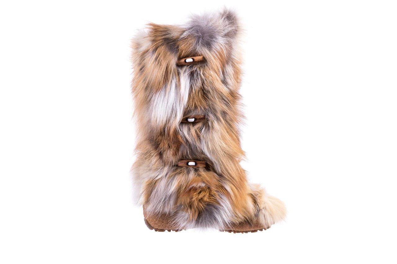 Śniegowce oscar yukon beige red, beż/ biały, futro naturalne  - oscar - nasze marki 6